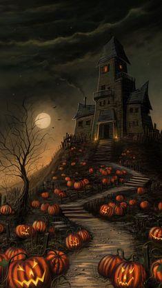Haunted House Halloween Wallpaper | Halloween-2013-Haunted-House-iPhone-5s-Wallpaper