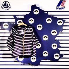 """Emi Laurent Paris-Fashion Pr sur Instagram: La collab Petit Bateau & K-Way où l'alliance de la pièce emblématique """"Claude"""" le K-Way et la rayure de Petit Bateau ⚓️ Parée pour affronter la pluie et la tempête contre vents et marrées! #petitkway #petitbateau #kwayfrance"""