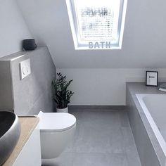 Roof slope / window / gray bathroom / concrete look tiles- Dachschräge/ Fenster/ graues Badezimmer/ Betonoptik Fliesen Roof slope / window / gray bathroom / concrete look tiles – – - Ensuite Bathrooms, Grey Bathrooms, Bathroom Fixtures, Skylight Bathroom, Roof Window, Ceiling Windows, Concrete Look Tile, Concrete Bathroom, Modern Loft