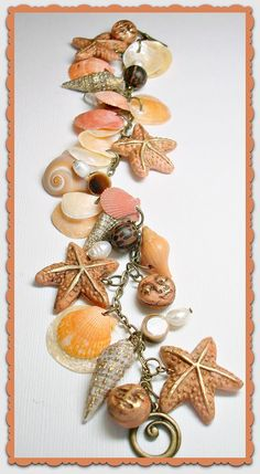 Florida Shell Beachy Peachy Starfish Organic Bracelet, polymer clay. $28.00, via Etsy.