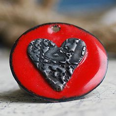 HEART...  enamel pendant with a FINE SILVER by CoolVintage on Etsy, $21.50