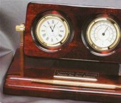 Rosewood Clock and Weather Gauge w/ Pen Set