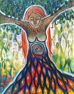 """Tree of Life 2"" by Amanda Joy Wells. Colorful intuitive painting. 16x20 acrylic on canvas. $300.00"