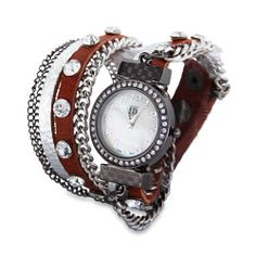 Sterling Silver Jewelry - Silver and Sienna Wrap Around Chain Watch