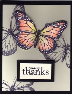 Stampin' Up! ... handmade card ... Monarch stamped, colored,cut out and popped up outlines only stamped across the page ... Many Thanks using Stampin Up Wonderful Wings ... wonderful card!!
