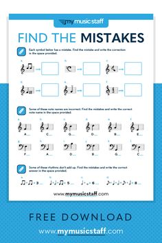 Find the Music Mistakes - Free Music Activity Sheet from My Music Staff Music Lesson Plans, Music Lessons, Guitar Lessons, Music Education Activities, Physical Education, Health Education, Education Quotes, Music Theory Worksheets, Middle School Music