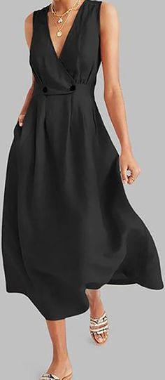 Fashion Tips Hijab Big Sale!Commuting V Neck Pleated Solid Colour Button Dress.Fashion Tips Hijab Big Sale!Commuting V Neck Pleated Solid Colour Button Dress Casual Dresses, Fashion Dresses, Summer Dresses, Pretty Outfits, Beautiful Outfits, Silhouette Mode, Dress Skirt, Dress Up, Elegant Maxi Dress