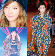 Taeyeon cũng diện một chiếc áo khoác ngoài với họa tiết cực hút mắt trong BST dòng Gold của Vivienne Westwood.