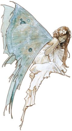 Fairies. Teal. Fantasy. Art. The Blue Fairy by Jean-Baptiste Monge.
