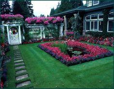 English Garden Side Yard With Pond.