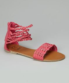 Take a look at this Fuchsia Twisted Strap Gladiator Sandal by Carrini on #zulily today!