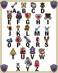 Zelda Alphabet Sampler Cross Stitch Pattern (PDF)