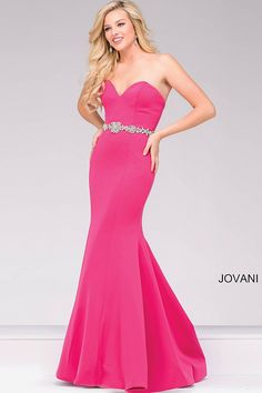 Strapless scuba fuchsia mermaid long prom dress with sweetheart neckline features crystal embellished belt, also available in  black, navy, royal, white and wine.