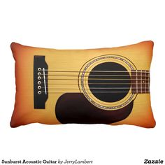 Sunburst Acoustic Guitar Lumbar Pillow