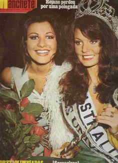 Miss Universe 1972, Kerry Anne Wells, from Australia, moments after being crowned, is flanked by the first runner-up, Rejane Vieira Costa, Miss Brazil.