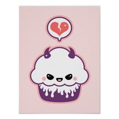 Super evil pink and purple cupcake posters.