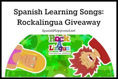 Spanish songs for kids: Rockalingua giveaway for two Spanish Playground readers! Common Spanish vocabulary and structures, printable coloring lyric sheets, Spanish printables with vocabulary and images, onscreen lyrics, and fun videos make these Spanish songs great learning tools. #Spanish kids songs  http://spanishplayground.net/rockalingua-cd-giveaway/