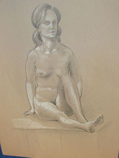 """Vintage, unsigned by the artist, front SITTING YOUNG WOMAN nude from a live model.  Drawing measures 18"""" X 12"""", unframed, has pin holes in each corner where the picture once hung on a wall.  Artist is attributed to Norman T. Boggs, born around 1910.  He studied at the la Sorbonne University, Paris France in the early 1900's.  This drawing was done from a live model.<br/><br/>Drawing measures 18"""" X 12"""", unframed, has pin holes ..."""