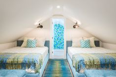 Top floor bedroom/bathroom in Key West, FL home from David L. Smith Interiors {House of Turquoise}