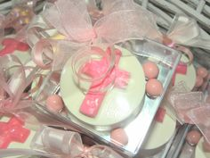 Chocolate covered oreos for a baby girl baptism or communion favor!