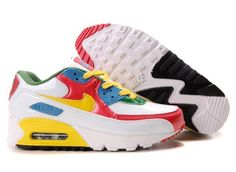 Nike Air Max 90 Womens Shoes Red White Yellow Blue Green Dam Nike 6e921a15d94ac