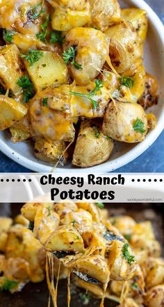 This Cheesy Ranch Potatoes Recipe is a super simple side dish idea. Potatoes tos… This Cheesy Ranch Potatoes Recipe is a super simple side dish idea. Potatoes tossed with dry ranch mix then roasted. Top with melty cheese for the ultimate comfort food! Potato Sides, Potato Side Dishes, Vegetable Side Dishes, Vegetable Recipes, Vegetarian Recipes, Cooking Recipes, Pork Chop Side Dishes, Sides For Pork Chops, Skillet Recipes
