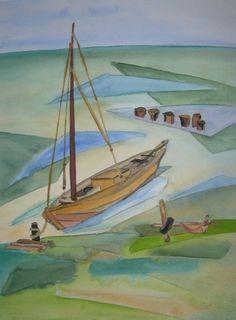 Maritime Aquarelle   Zeese (c) Aquarell von Frank Koebsch #Aquarell #maritim #Ostsee #Zeese #Zessboote