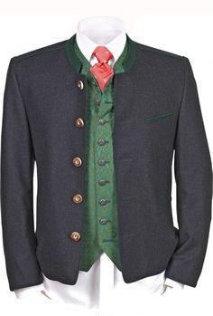 Wunderschöner traditioneller anthrazitfarbener Janker überzeugt mit trachtigen Details. Eine Jacke, ein unverzichtbares trachtiges Basic für die Herren, toll kombinierbar zur kurzen Lederhose, aber auch zu langen und Kniebundlederhosen. [Unser Preis: 249,00 €]