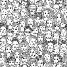 Hand drawn seamless pattern of diverse women royalty-free hand drawn seamless pattern of diverse women stock vector art & more images of black and white Line Illustration, Pattern Illustration, Drawing School, Free Hand Drawing, Line Patterns, Cartoon Drawings, Doodle Drawings, Black And White Pictures, Free Vector Art
