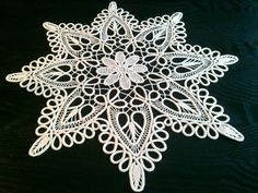 romanian point lace | Crocheted Doily, Romanian Point Lace Crochet Doily, Ecru (Beige ...