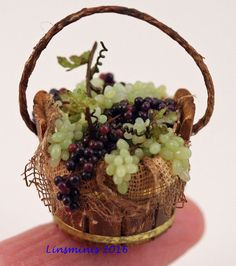 Wooden half barrel of grapes