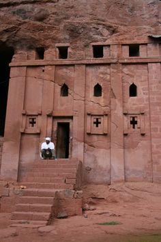 One of the stone churches of Lalibela, Ethiopia   Photographer unknown