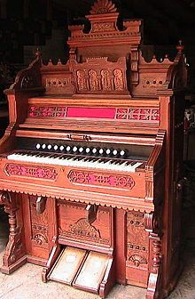 The Pump organ is a type of organ that generates its sounds using free metal reeds with a foot-operated vacuum bellows.