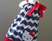 Super Cute Valentine's Day Hello Kitty pillowcase dress. $29.00, via Etsy.