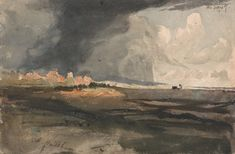 Samuel Palmer, 1805–1881, British, active in Italy (1837–1839), At Hailsham, Sussex: a Storm Approaching, 1821, Watercolor and graphite on medium, slightly textured, cream wove paper, Yale Center for British Art, Paul Mellon Collection