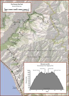 Map of the Vicente Flat Trail in Los Padres National Forest, Big Sur Frazier Park, Los Padres National Forest, Best Places To Camp, Need A Vacation, Happy Trails, Topographic Map, Big Sur, California Travel, Wilderness