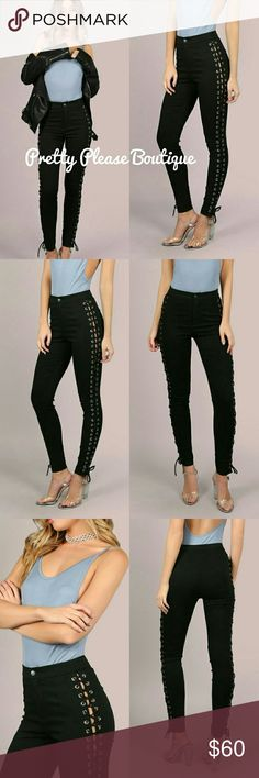 """❤NEW High waist lave up skinnies It's obvious that this year lace up everything is in! So up your game with these sexy high waist skinnies, stretchy material skinny fit pant is 39.4"""" from waist to bottom hem  High Waisted Laced Side Skinnies BLACK Size Available : XS,S,M,L Waist Size(cm) : XS:60cm, S:65cm, M:70cm, L:75cm Color : Black Pattern Type : Plain Type : Tights Style : Sexy Pants Skinny"""