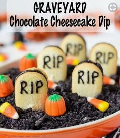 """Graveyard Chocolate Cheesecake Dip - A dessert dip that tastes like a decadent chocolate cheesecake. Topped with crunchy chocolate cookie """"dirt"""" and vanilla cookie """"tombstones,"""" this easy recipe is the perfect Halloween treat. Halloween Desserts, Entree Halloween, Homemade Halloween Treats, Soirée Halloween, Halloween Finger Foods, Postres Halloween, Halloween Party Appetizers, Hallowen Food, Party Finger Foods"""