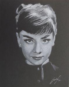 Audrey Hepburn, white charcoal, 16x20 cm