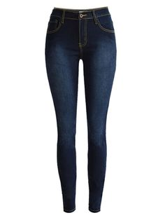 Dark Blue High Waist Washed Skinny Jeans