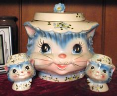 "Lefton ""Miss Priss Kitty"" Cat cookie jar and Salt Shakers"