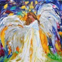 Original oil Angel Love Hugs PALETTE KNiFE painting by Karensfineart