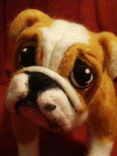 Custom Needle Felted Bulldog or Any Dog Your Choice OOaK Pet Portrait Lacharmour
