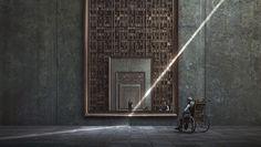 Originaire de Shanghai, Jie Ma crée des paysages urbains fantastiques et futuristes à l'architecture démesurée par rapport à ses habitants.