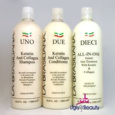 La Brasiliana UNO Shampoo, DUE Conditioner, DIECI Leave In 33.8oz by La Brasiliana. $105.95. La Brasiliana UNO Shampoo 33.8oz. La Brasiliana DIECI All in one Leave in Treatment 33.8oz. La Brasiliana DUE Conditioner 33.8oz. UNO  Use daily to smooth and repair dry damaged hair and it is essential after a La Brasiliana Keratin and Collagen Treatment. It is safe for all types of hair and does not contain sodium.  Directions: Apply a small amount to thoroughly wet hair. Mas...