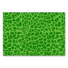 Bright green leopard print pattern table cards