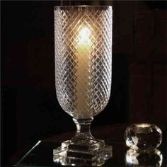 Hurricane Glass Lamp - Cross Etch