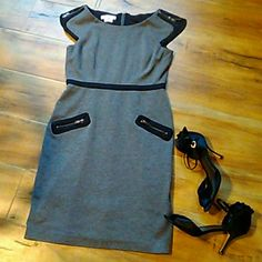 London Times size 6 dress Beautiful black and grey dress with zippers on the shoulders and beautiful gold zippers on the pockets what the black waist trim. in excellent condition 34 inches long London Times Dresses Midi