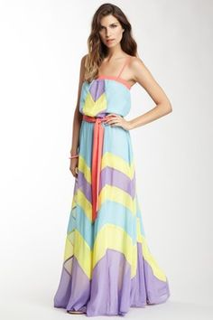 Flying Tomato & More Champagne & Strawberry Multicolor Maxi Dress