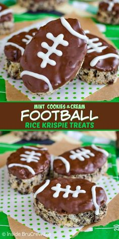 Mint Cookies and Cream Football Rice Krispie Treats - mint cookies and mint chocolate adds a fun flavor to these easy rice krispie treats! Make these football treats for all your game day parties! ~ Inside BruCrew Life